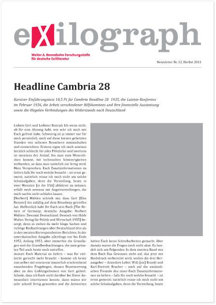 Newsletter der Walter-A.- Berendsohn-Forschungsstelle für deutsche Exilliteratur der Universität Hamburg - Booth Design Unit, Grafikdesign aus Berlin