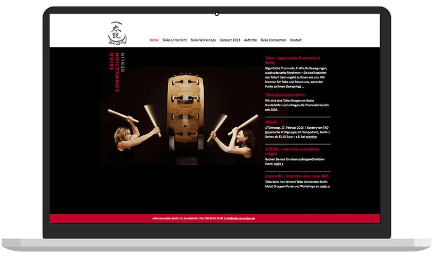Grafikdesign-Berlin-Website Taiko Connection Berlin - Booth Design Unit, Webdesign aus Berlin